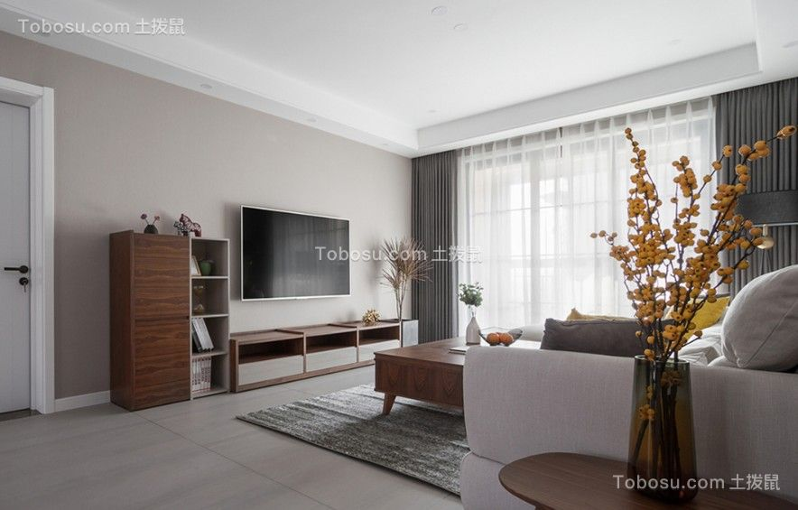 130方现代风格三居室装修效果图