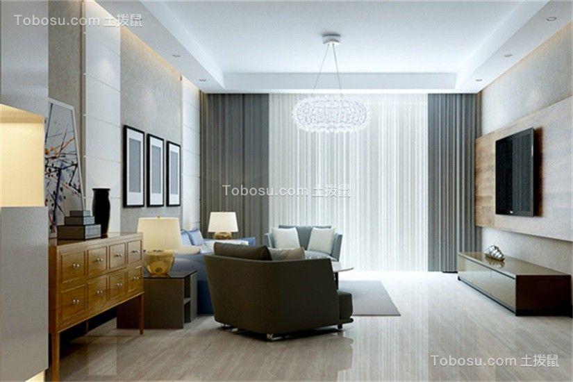 客厅米色地砖现代简约风格装潢效果图