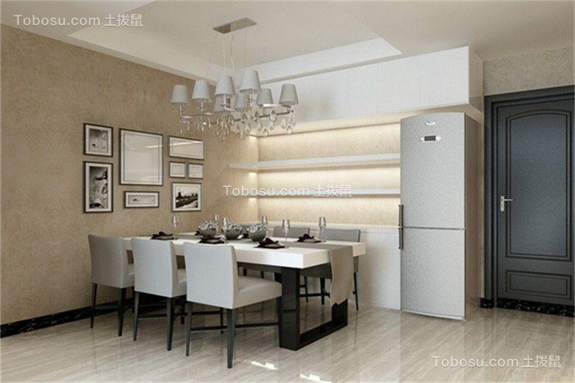 餐厅白色餐桌现代简约风格装修图片