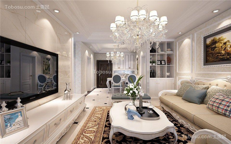 客厅黄色灯具简欧风格装潢图片