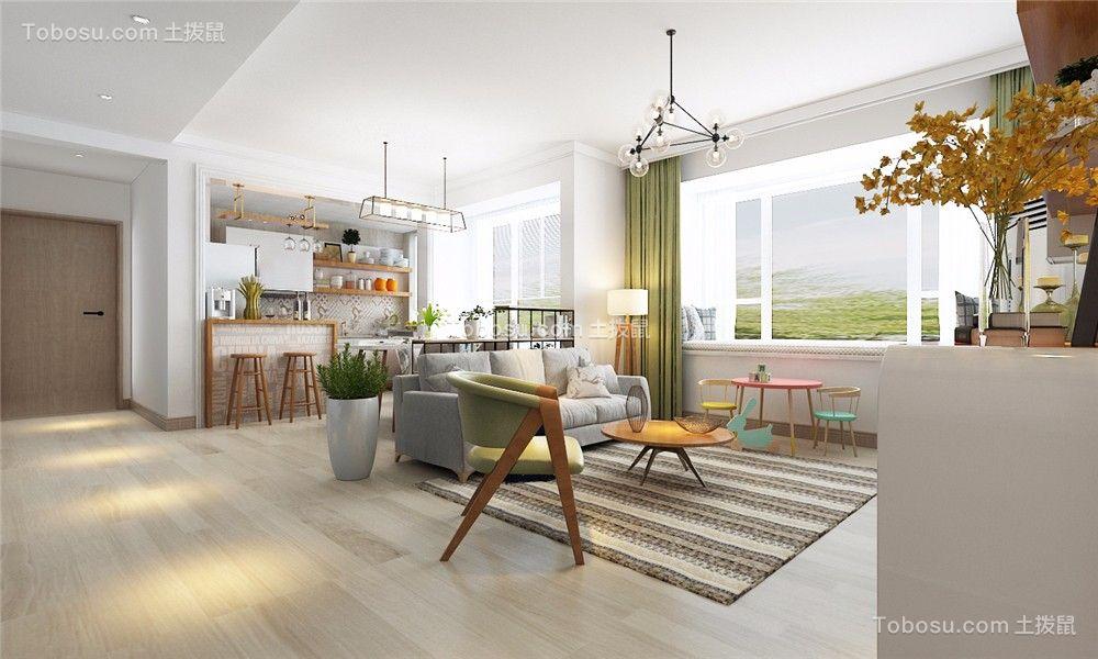 110平北欧风格三居室效果图