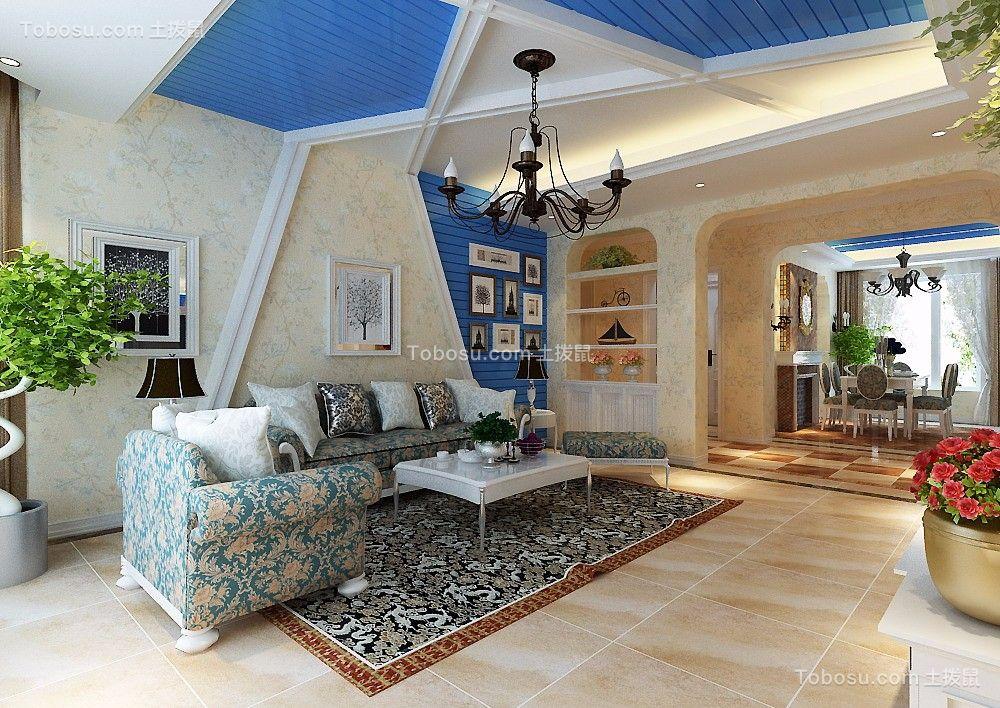 地中海风格95平米三室两厅新房装修效果图