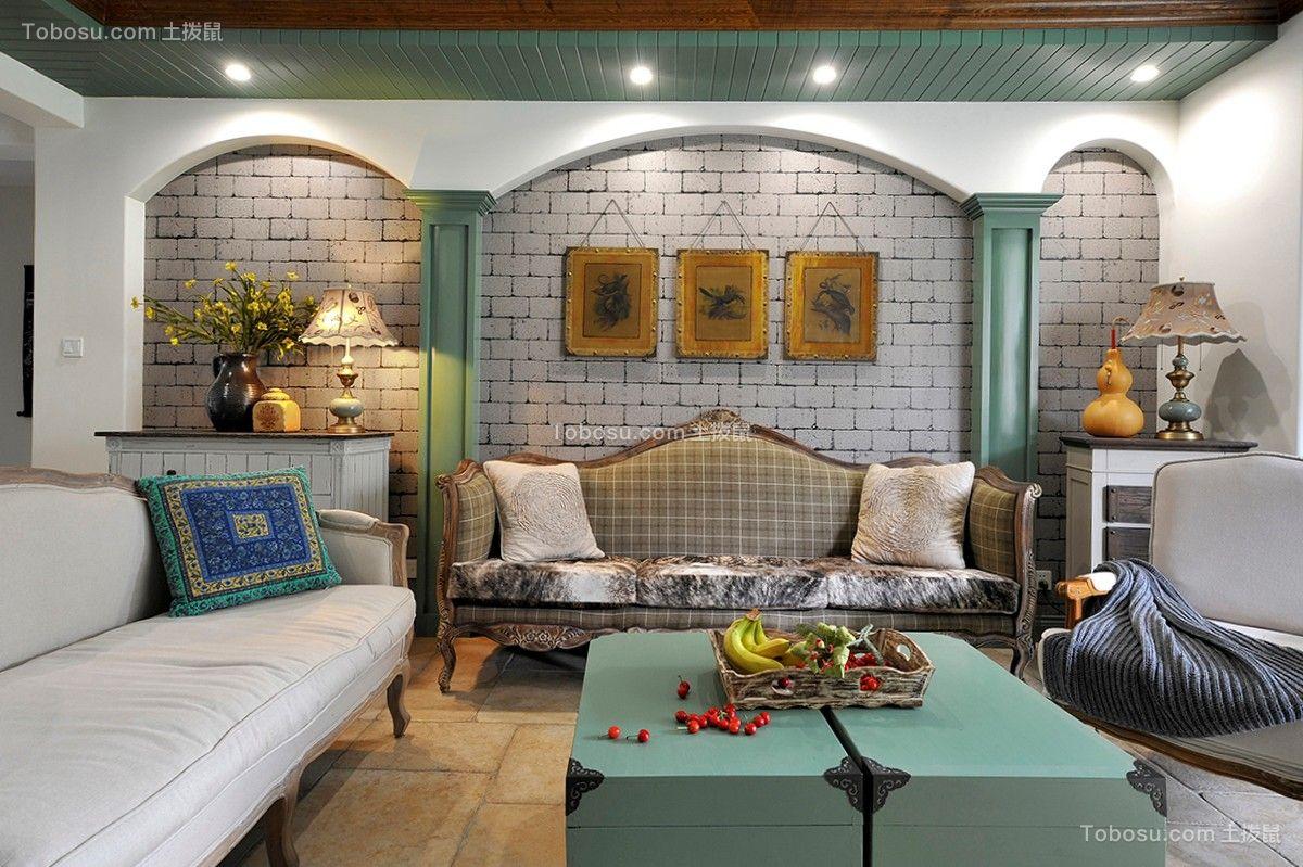客厅 茶几_田园风格120平米三室两厅新房装修效果图