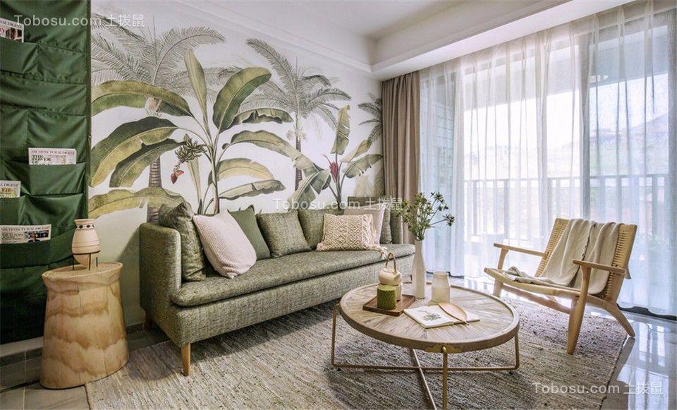 客厅 背景墙_混搭风格81平米两室两厅室内装修效果图