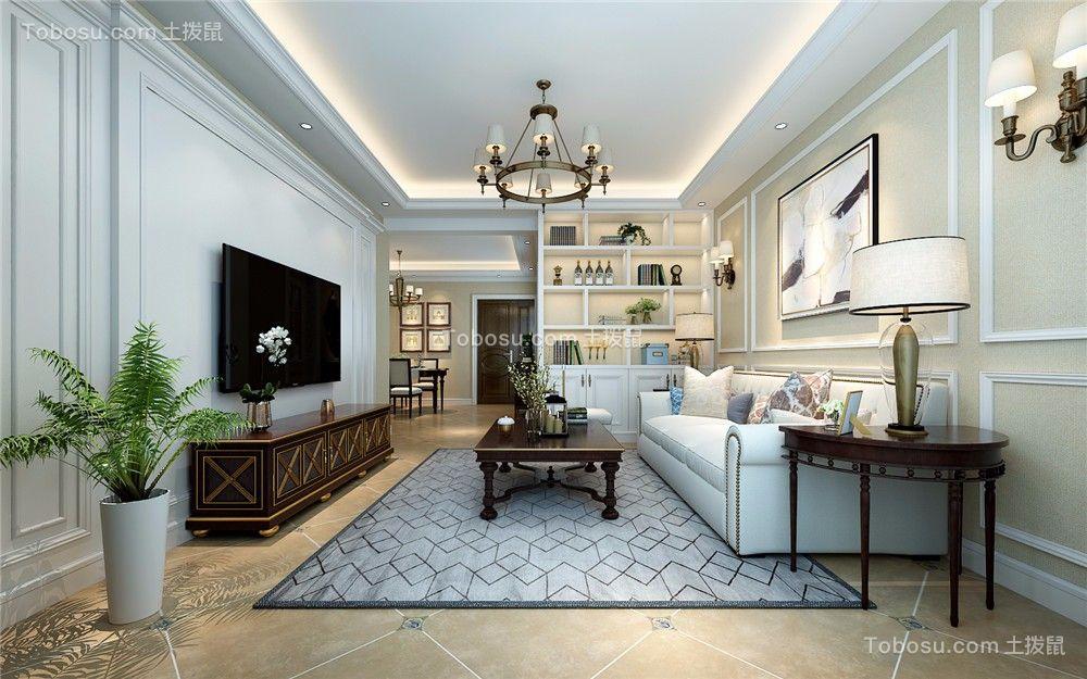新古典风格89平米两室两厅室内装修效果图