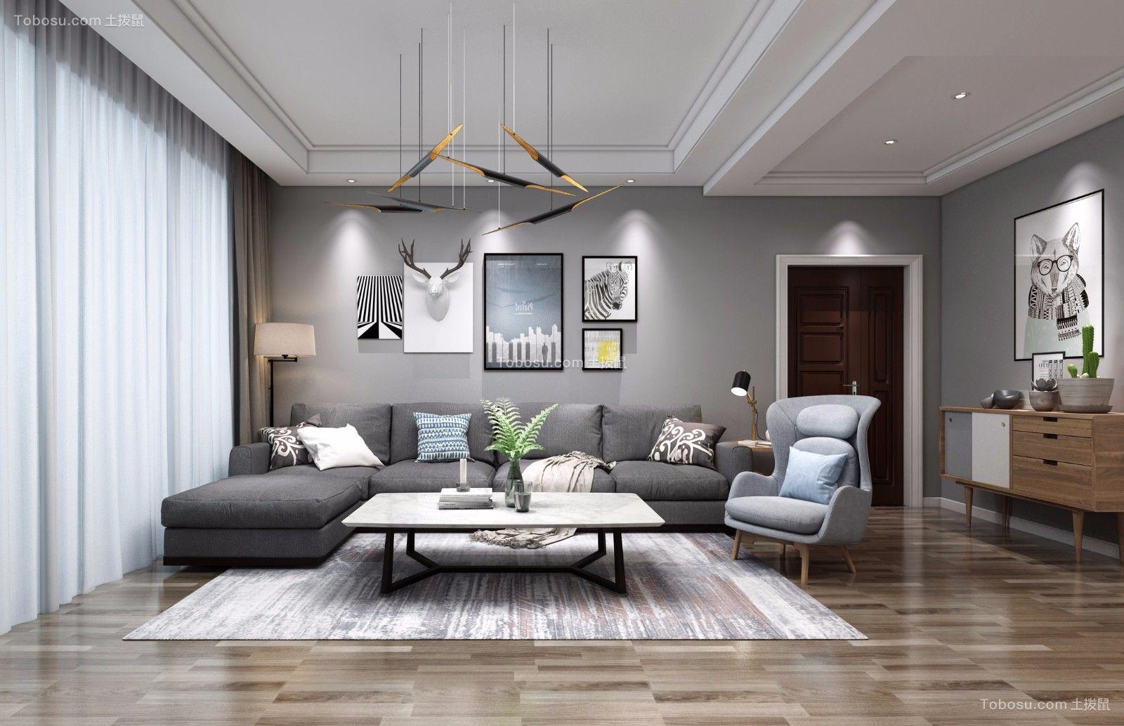 北欧风格108平米三室两厅室内装修效果图