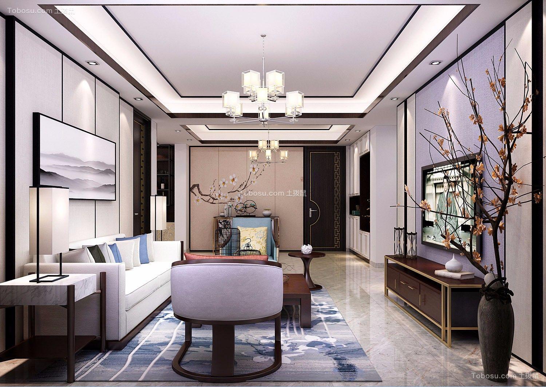 新中式风格125平米三室两厅室内装修效果图