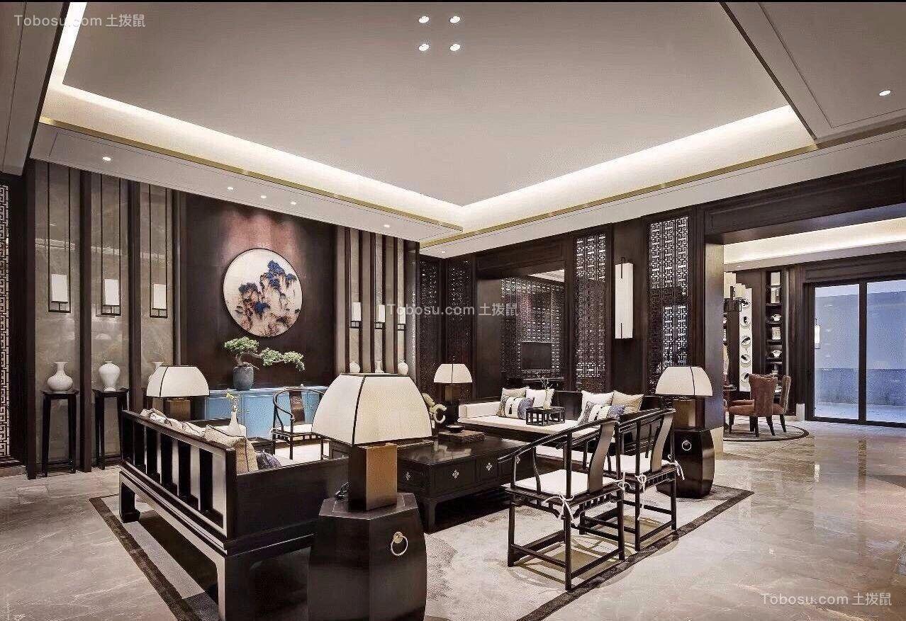 客厅白色吊顶新中式风格装饰设计图片图片
