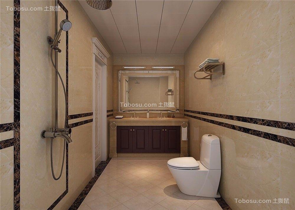 卫生间米色背景墙法式风格装修效果图