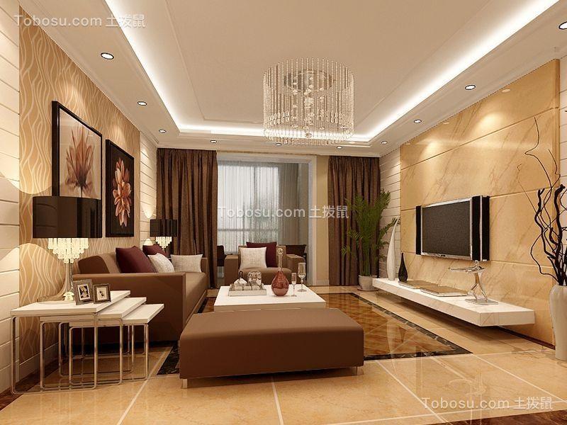现代简约风格90平米两房两厅新房装修效果图