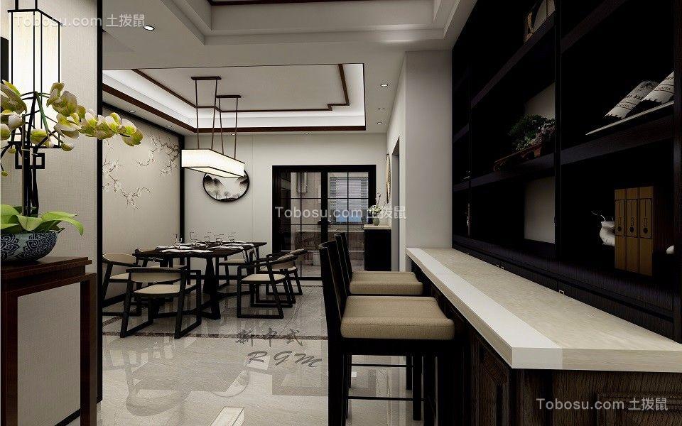 120平新中式风格三居室效果图赏析_土拨鼠装修效果图图片