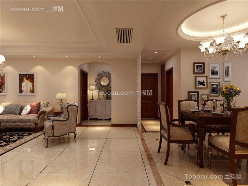 新中式风格120平米三室两厅室内装修效果图图片