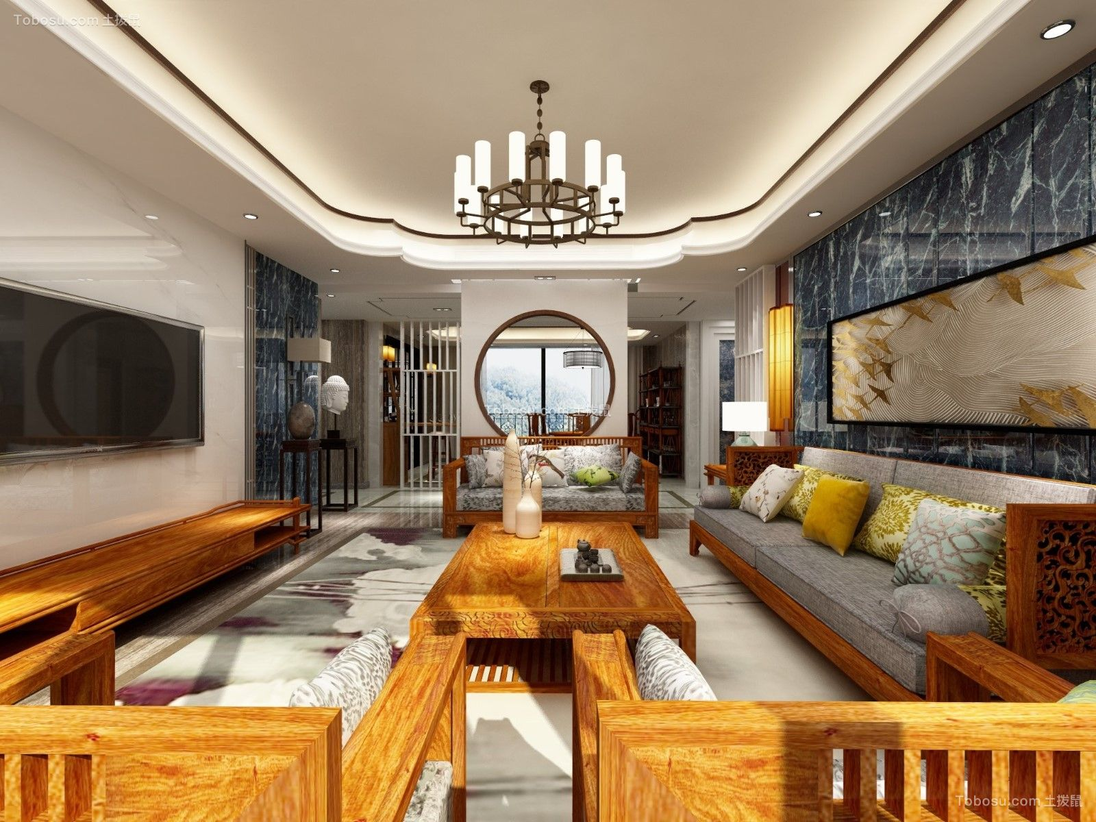中式风格303平米别墅室内装修效果图