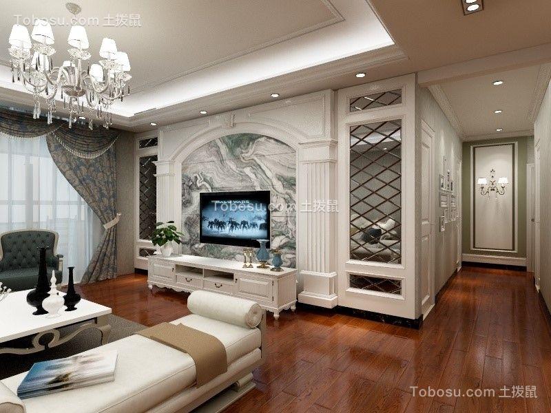 客厅彩色背景墙欧式风格效果图