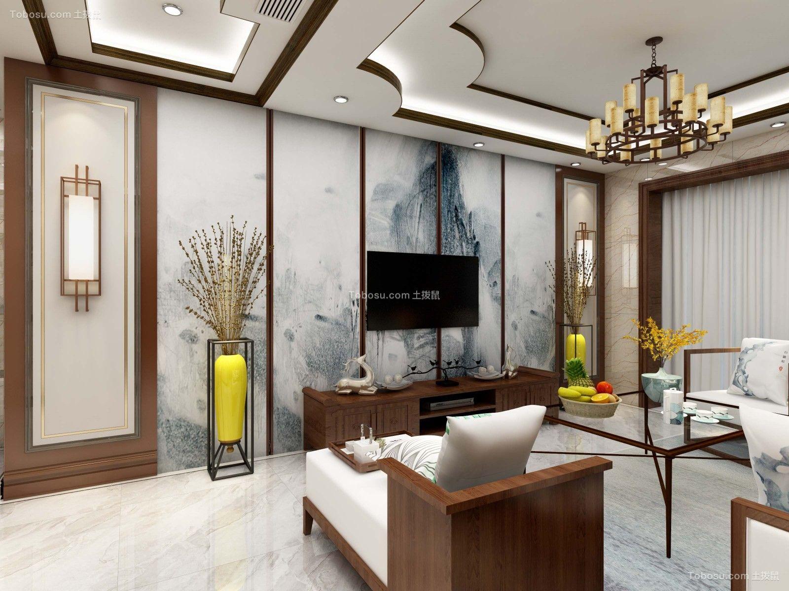 新中式风格99平米三室两厅室内装修效果图