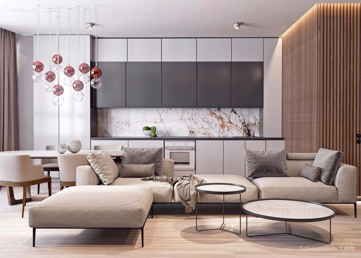 客厅米色沙发现代风格装饰设计图片