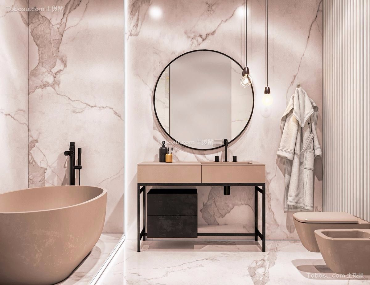 卫生间白色背景墙现代风格装饰图片