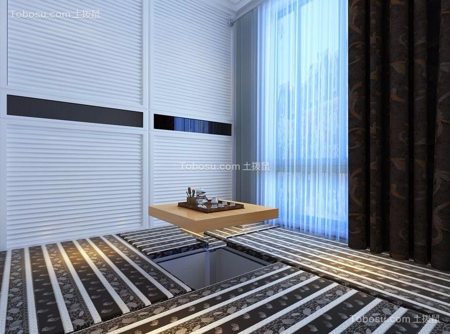 书房黑色窗帘现代风格装潢图片