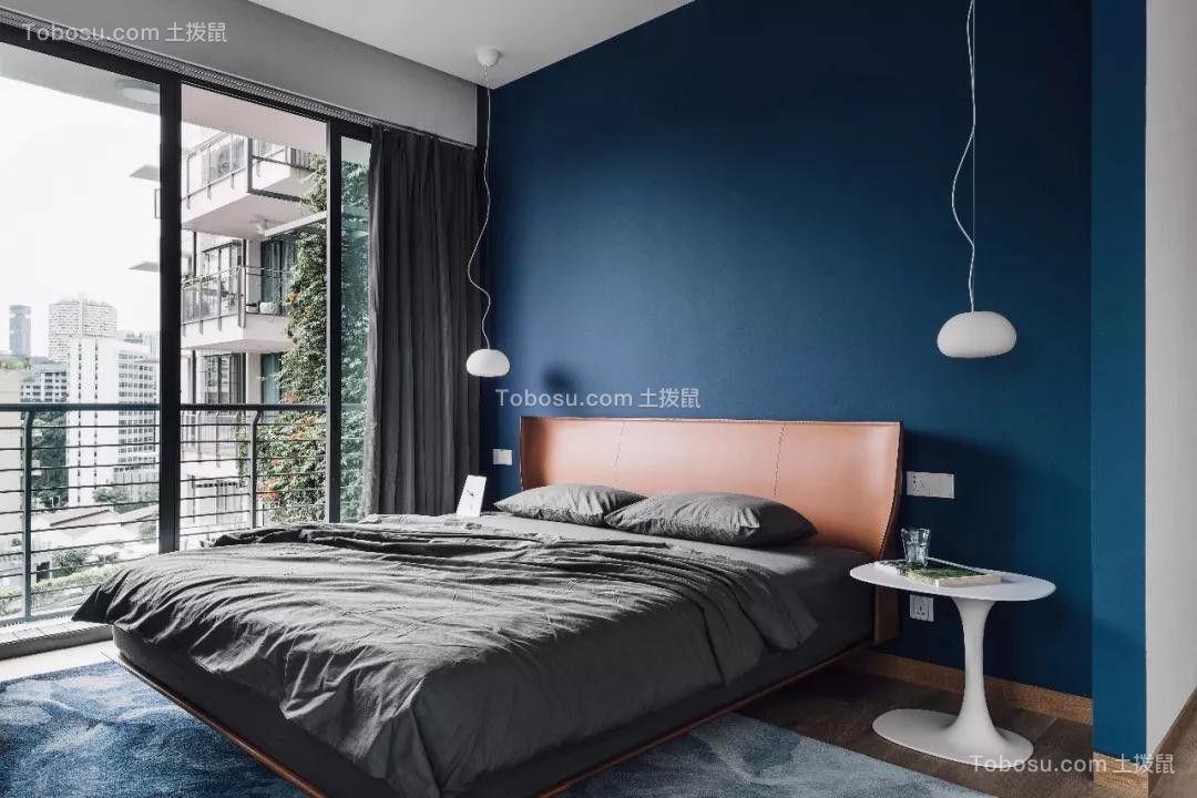 卧室蓝色背景墙现代风格装修图片