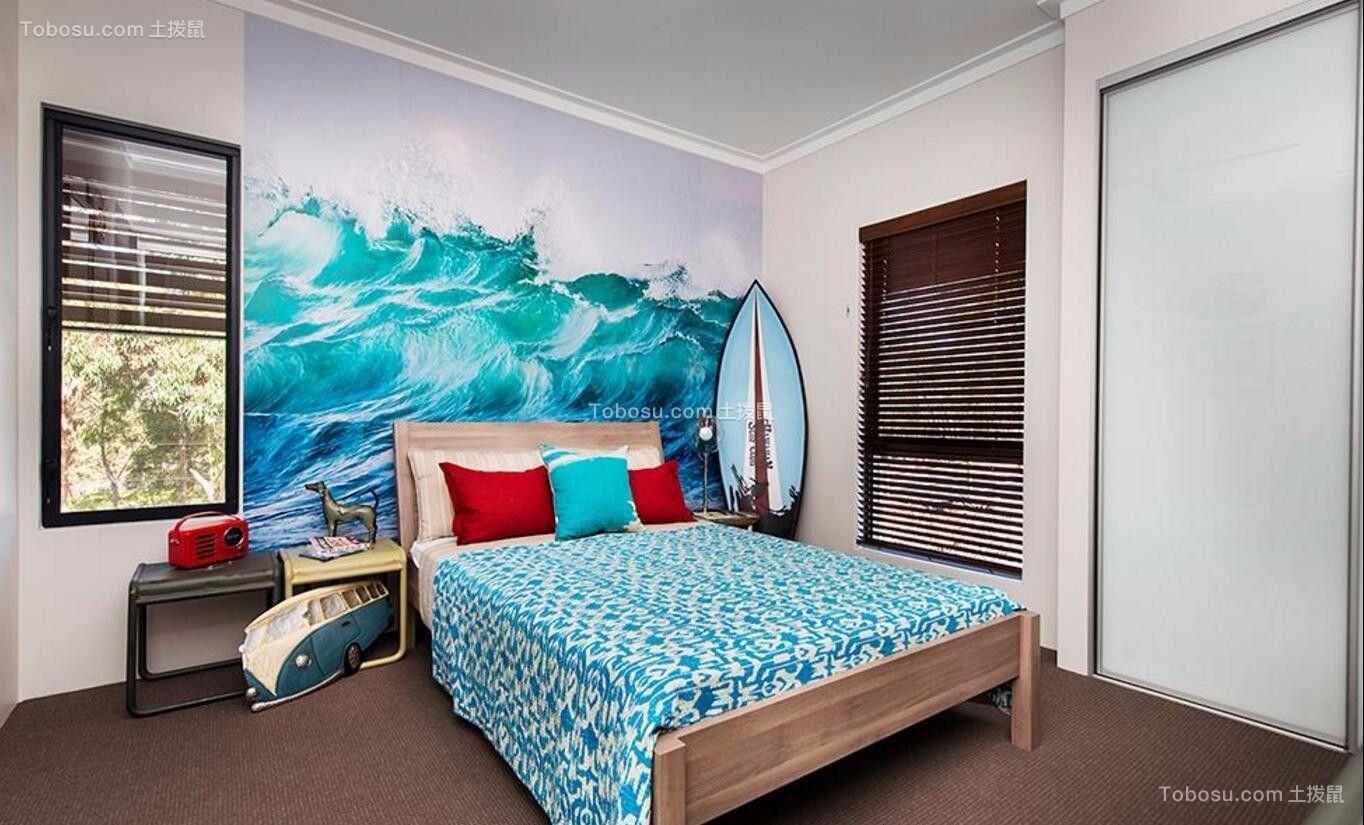 卧室彩色背景墙地中海风格装饰图片