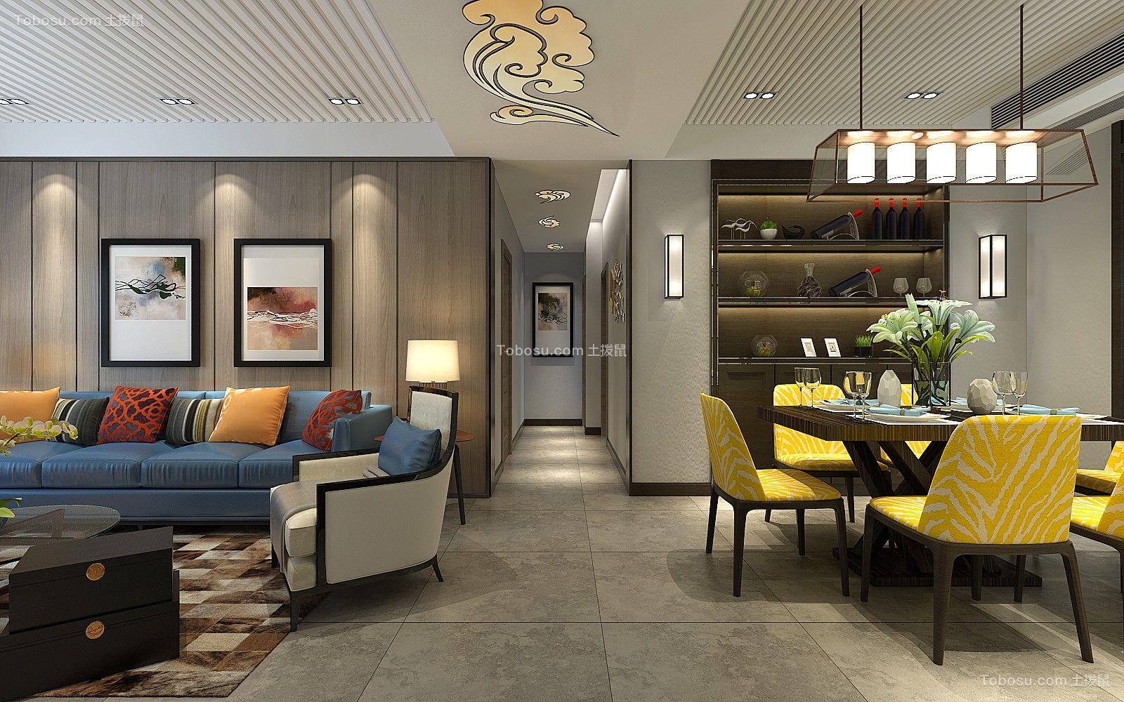北欧风格108平米三房两厅新房装修效果图图片