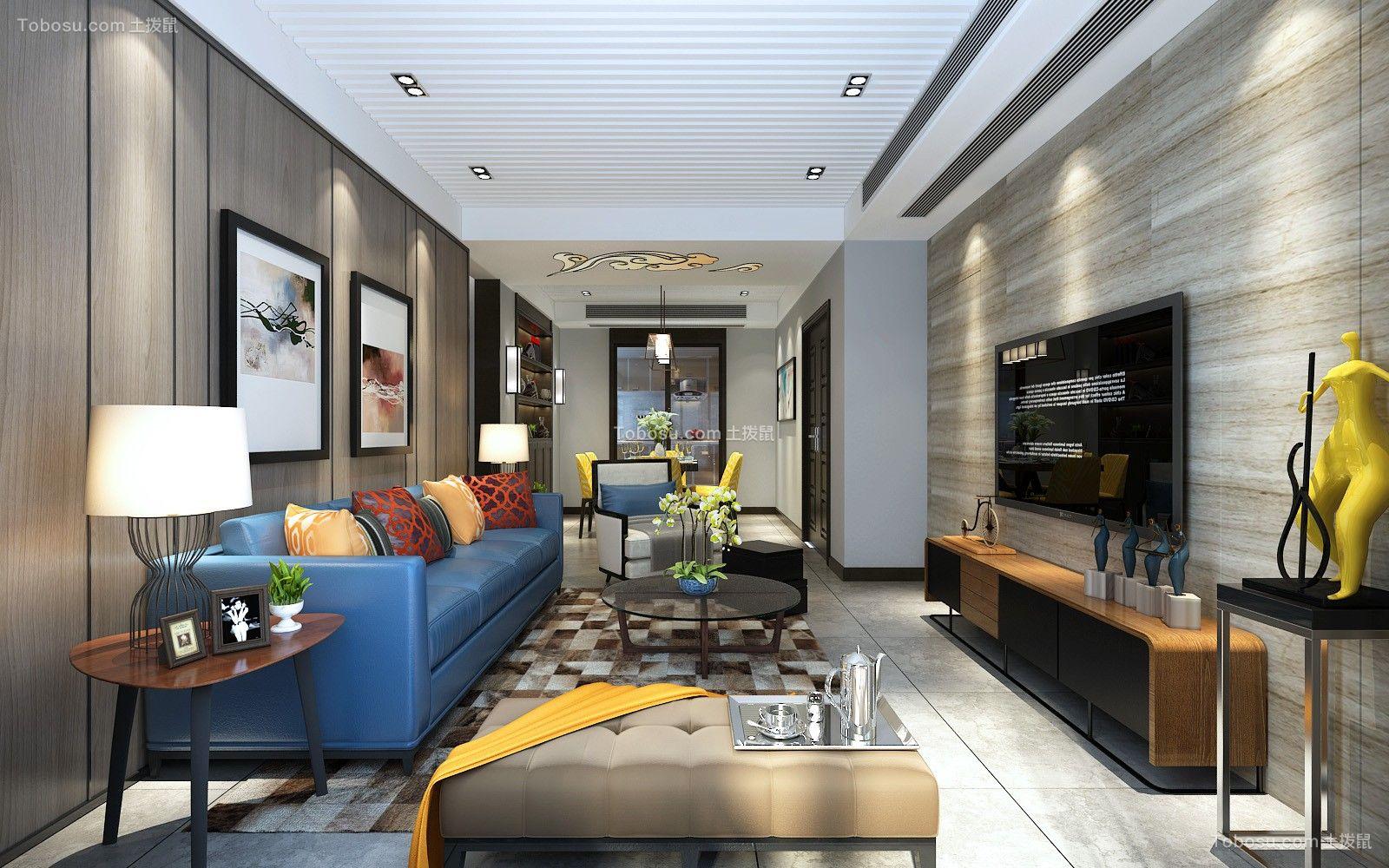 新中式风格137平米三房两厅新房装修效果图