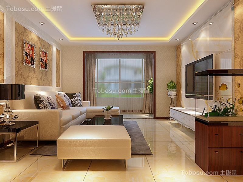 现代简约风格128平米三房两厅新房装修效果图