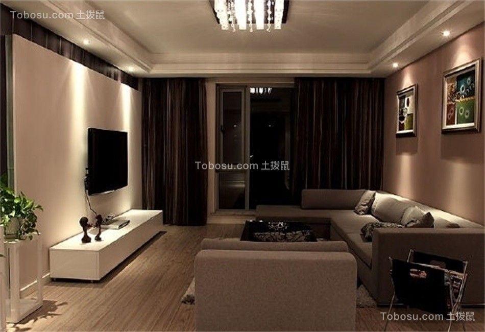 现代风格89平米2房2厅房子装饰效果图