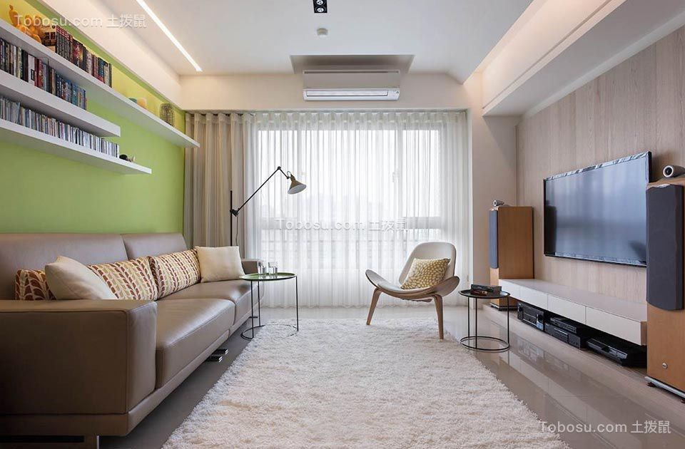现代简约风格91平米两房两厅新房装修效果图