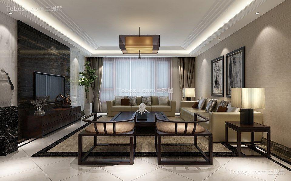 新中式风格110平米3房2厅房子装饰效果图
