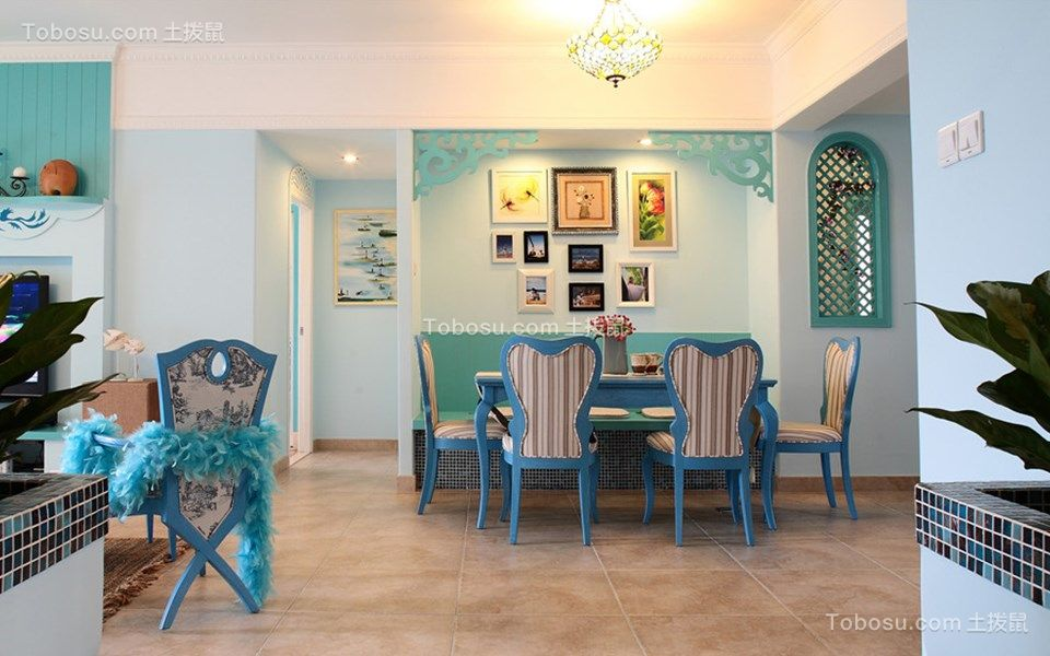 地中海风格120平米3房2厅房子装饰效果图