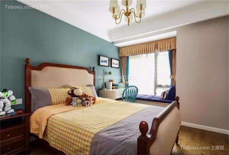 卧室绿色照片墙美式风格装修图片