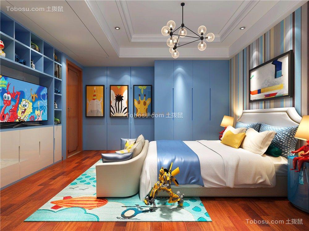 儿童房蓝色床中式风格装潢效果图