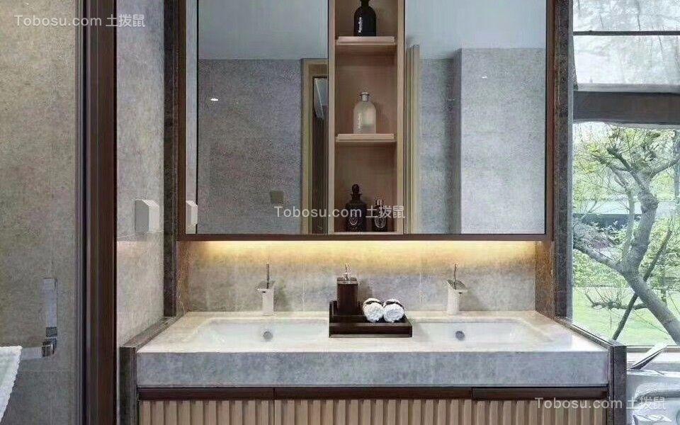 浴室灰色洗漱台新中式风格装修设计图片