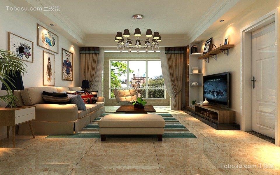 北欧风格109平米三室两厅新房装修效果图