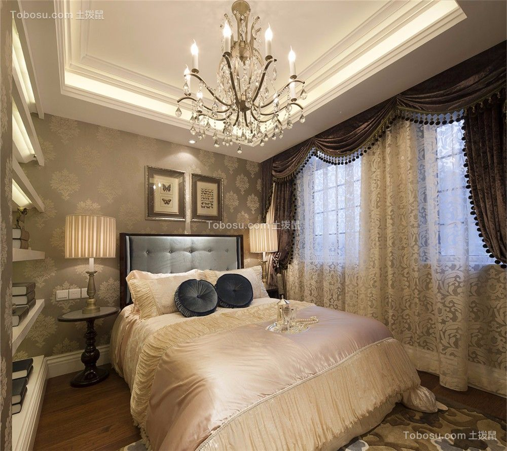 卧室咖啡色窗帘欧式风格装饰设计图片