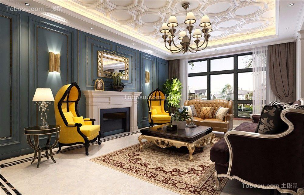 客厅黑色茶几欧式风格装潢设计图片