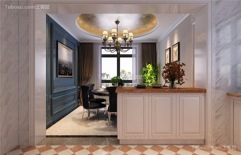 餐厅咖啡色窗帘欧式风格装饰效果图