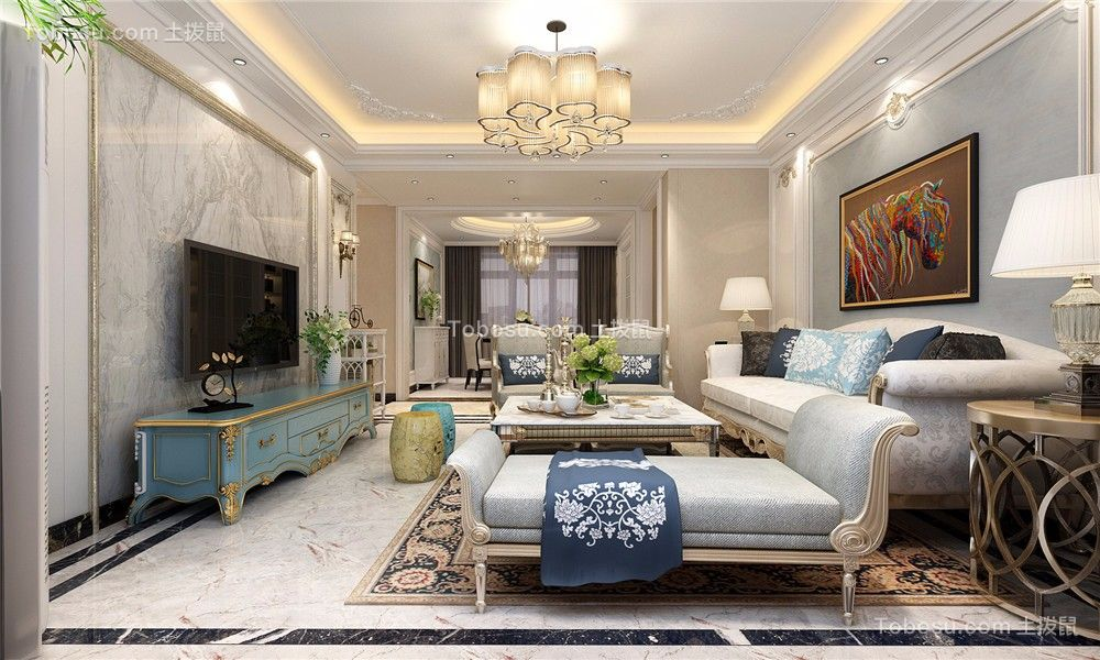 美式风格148平米三室两厅新房装修效果图