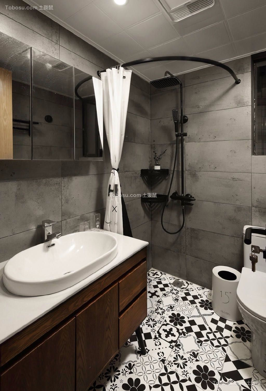 卫生间咖啡色洗漱台北欧风格装修设计图片