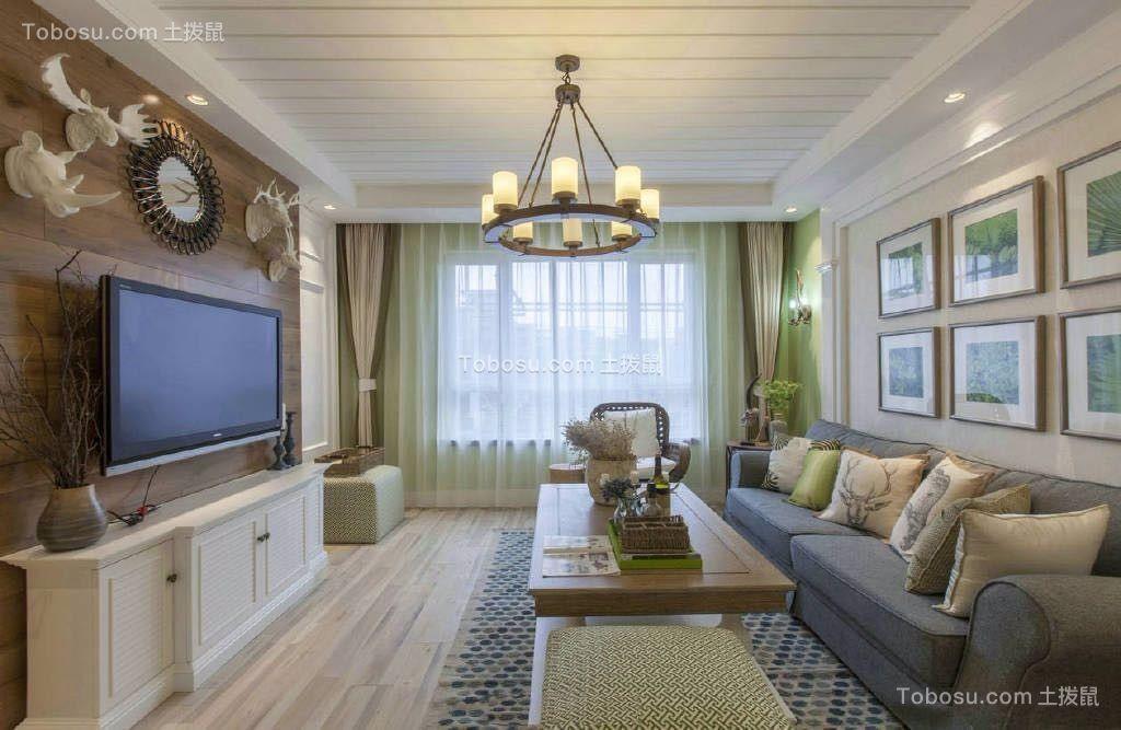 客厅白色吊顶田园风格装修设计图片