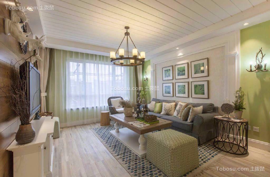 客厅黄色照片墙田园风格装潢设计图片