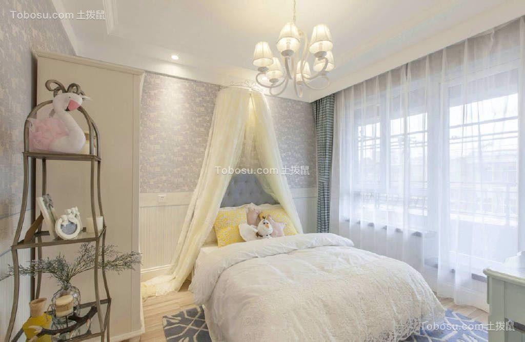 卧室蓝色窗帘田园风格装修效果图