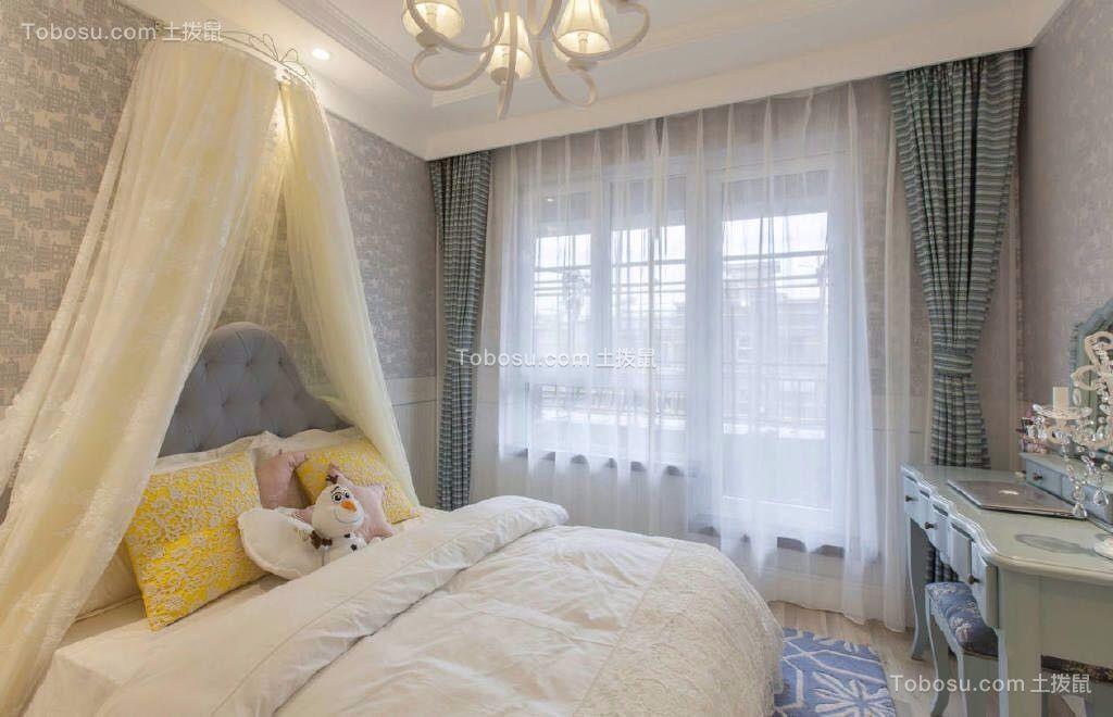 卧室绿色梳妆台田园风格装潢效果图
