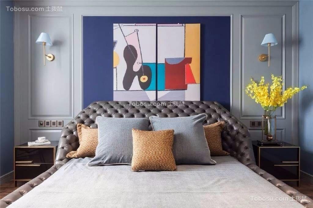 卧室灰色背景墙美式风格装潢效果图