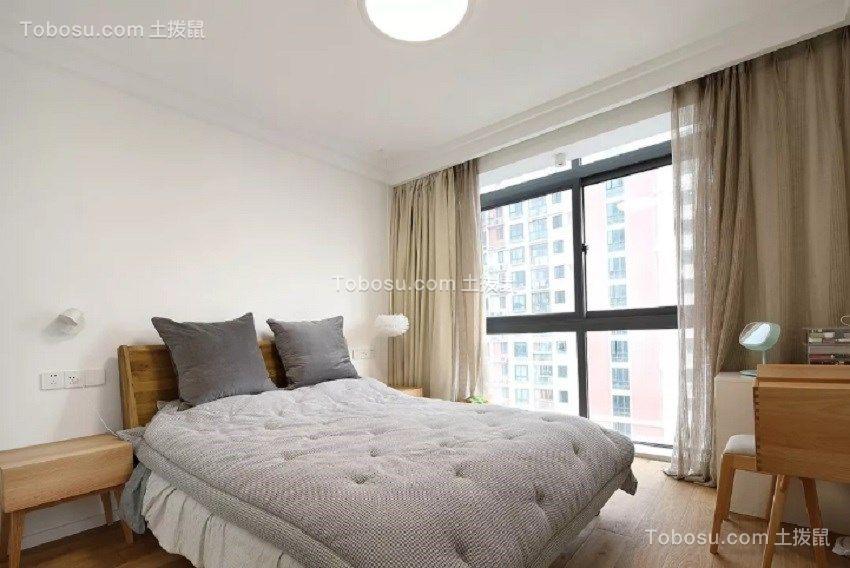 卧室咖啡色窗帘日式风格效果图