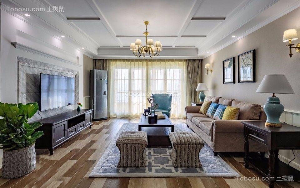 美式风格178平米三室两厅新房装修效果图