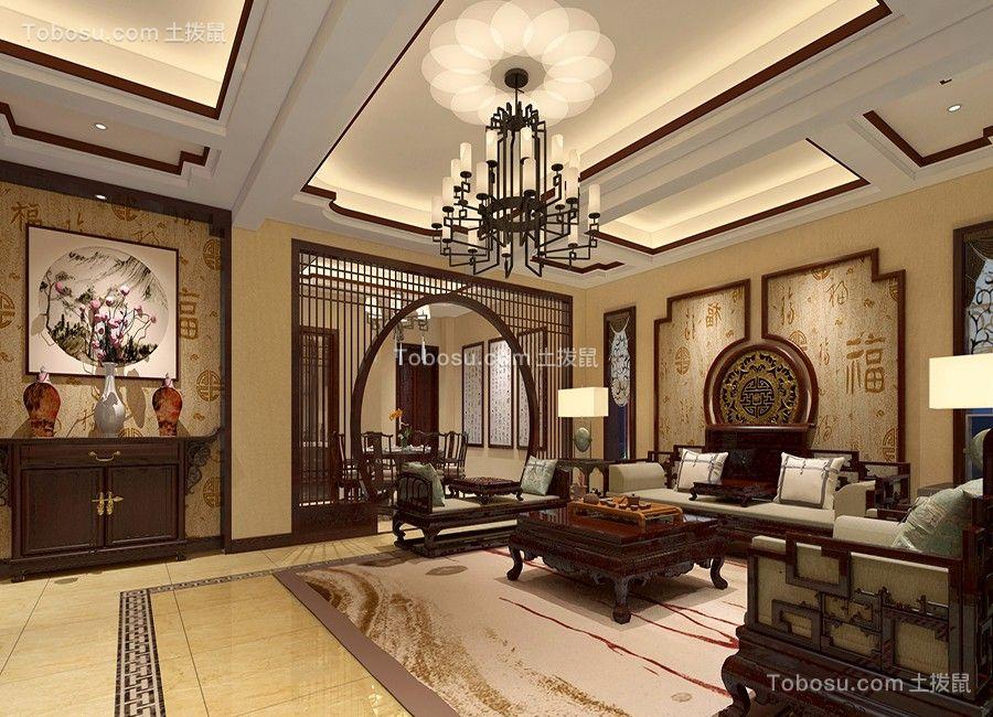 中式风格244平米别墅新房装修效果图