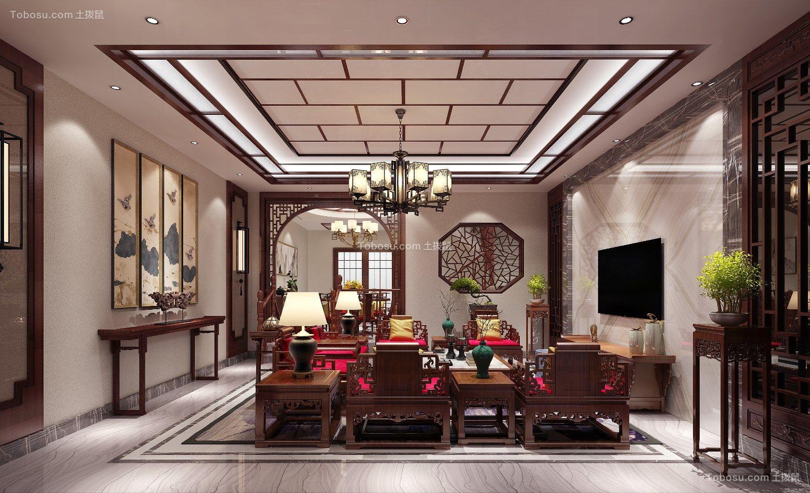 新中式风格500平米别墅新房装修效果图