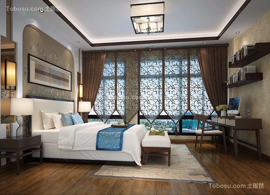 清爽中式咖啡色窗帘设计图片